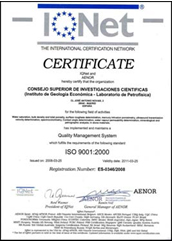 IQNet The institutional certification network certificate ISO 9001:2000 aenor